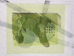 Schue Grün_45x60cm_Druck auf Seide, Stickerei