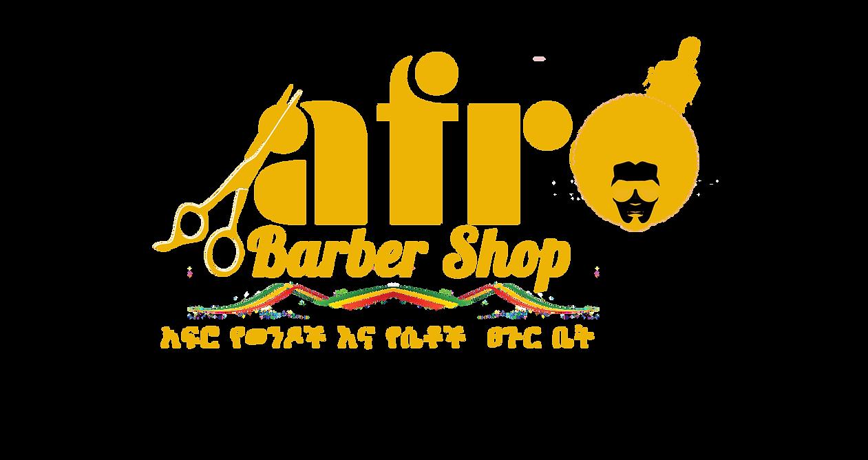 afro barber shop logo