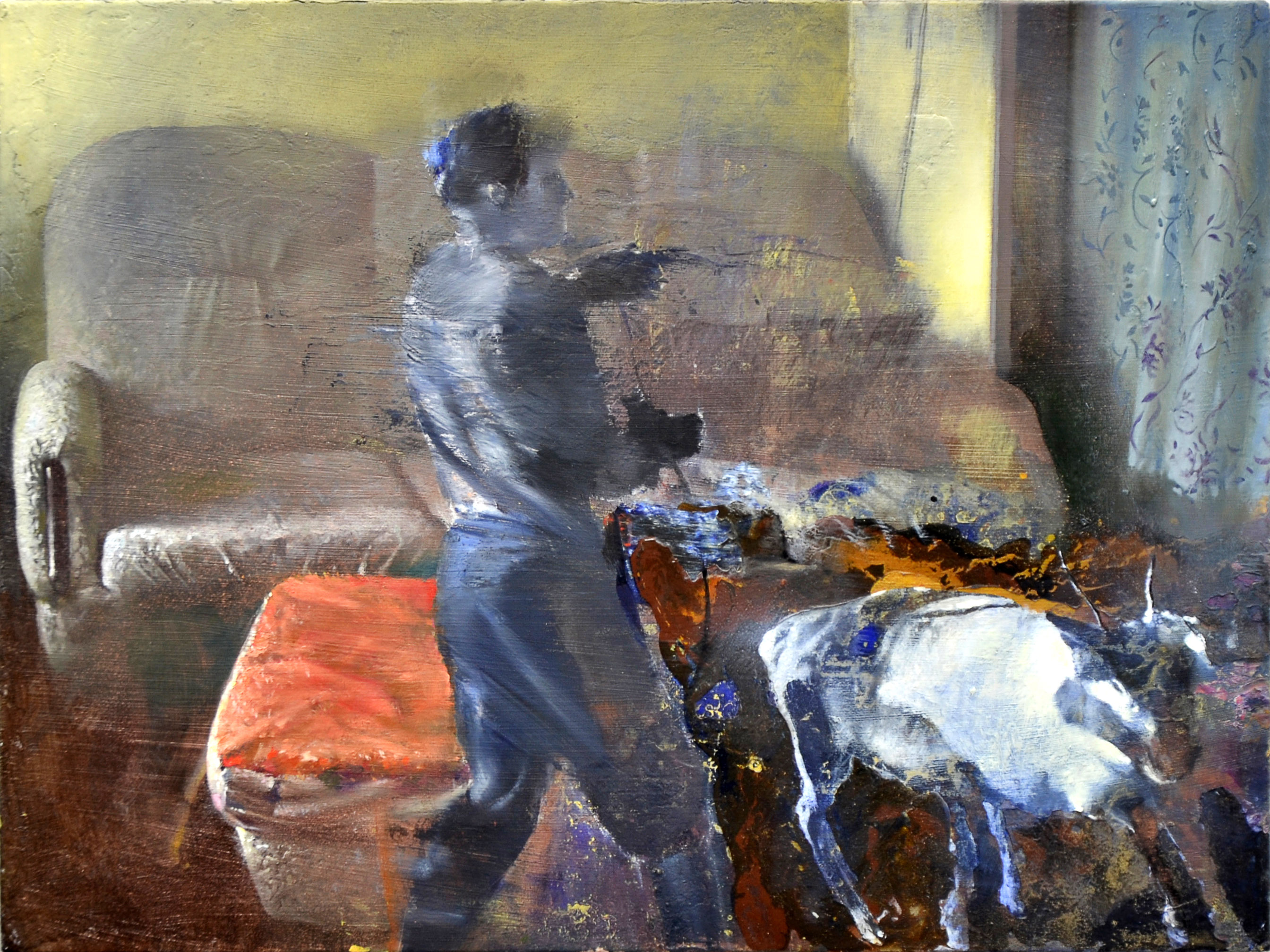 005.Living room, oil and acrylics on canvas, 20 x 30cm...