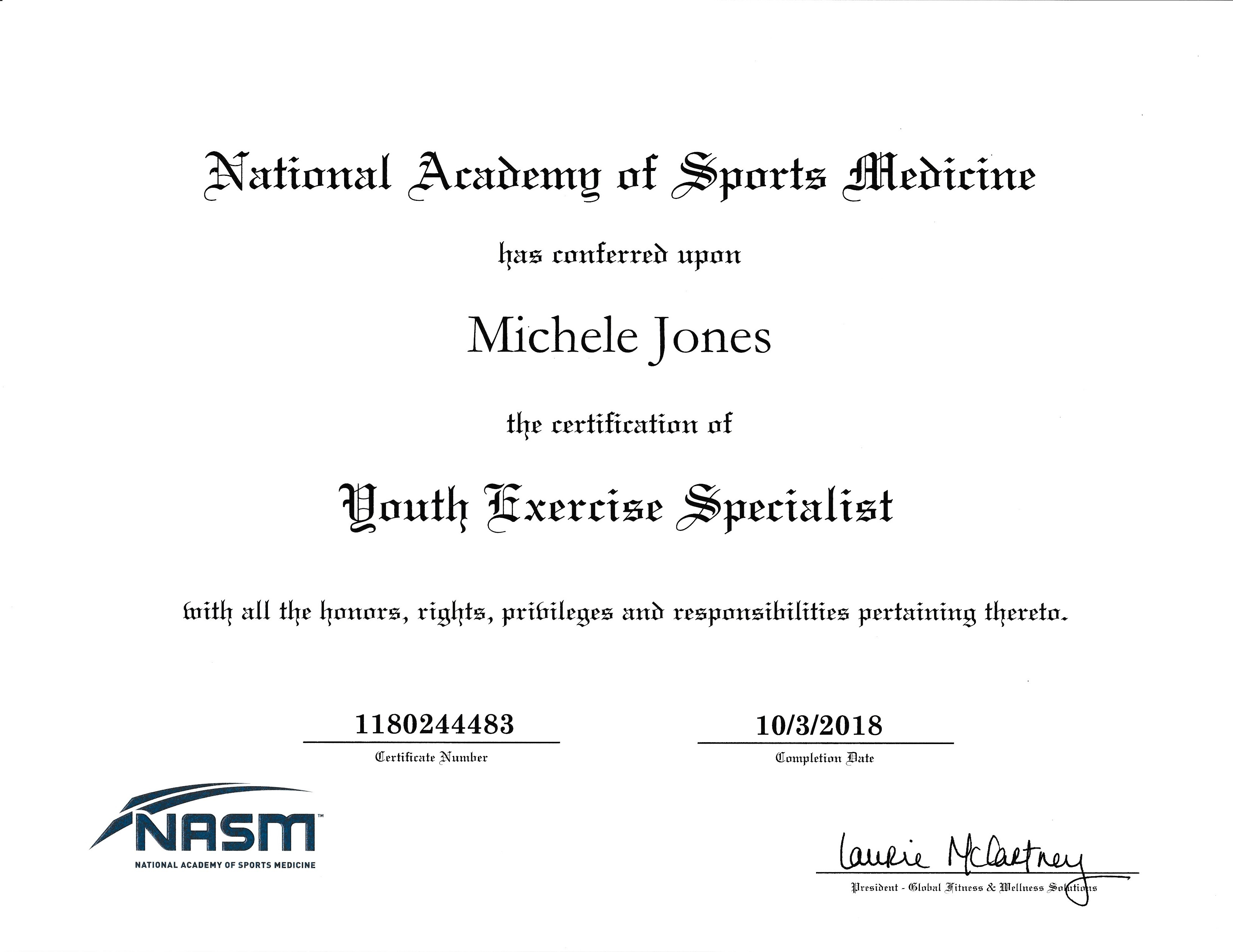 NASM-YES Certificate