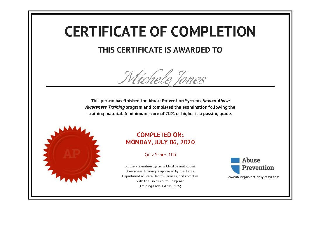 Abuse Prevention Certificate