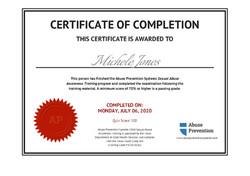 Abuse Prevention Certificate