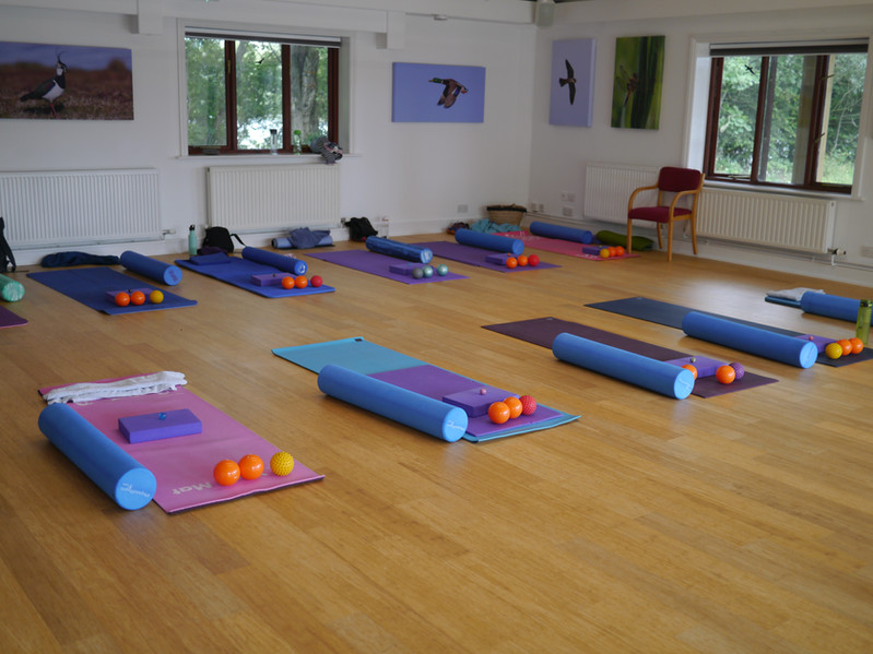 Equipment laid out for Pilates workshops