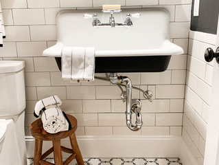 Modern~Vintage Hall Bath