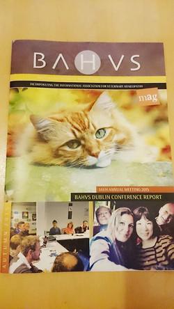BAHVS(英国獣医ホメオパシー学会)雑誌表紙に載る(2015)