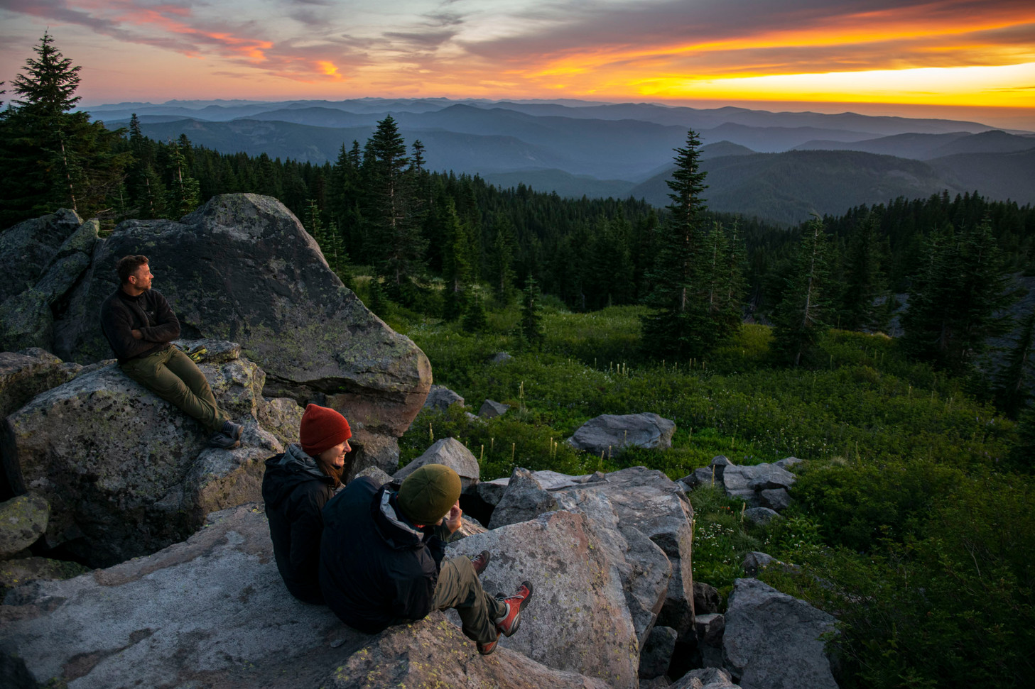 Watching the sun set from Mount Hood, 2020.
