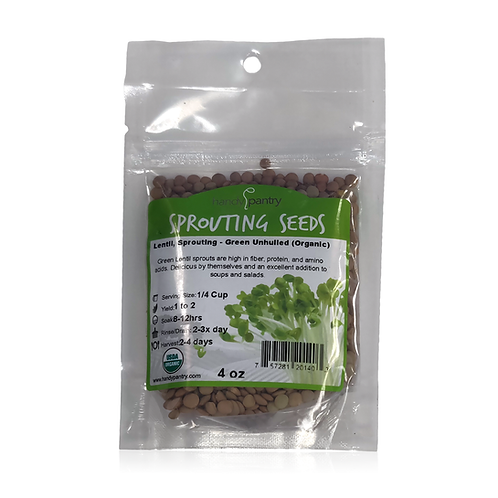 Lentil, Sprouting - Green Unhulled (Organic)