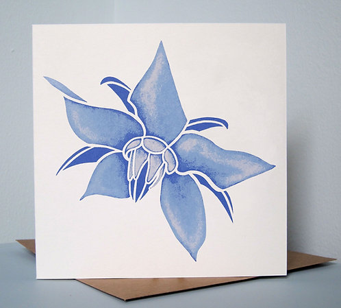 Borage, screenprinted greeting card