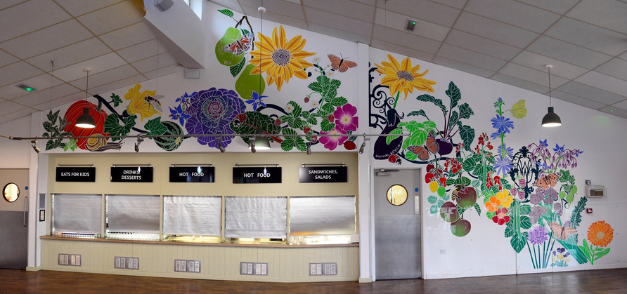 RHS Wisley Glass House Cafe, Botanical Mural,  illustrating health & wellbeing.