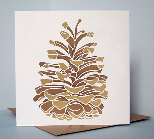 Pine Cone, screenprinted greeting card