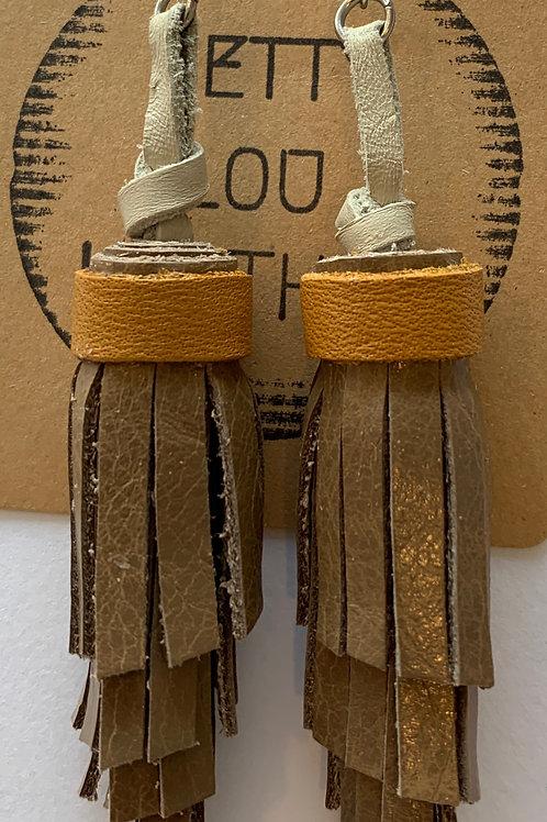 Tan on Tan Leather Earrings