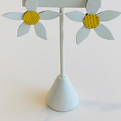 Daisies are for Garden Parties - Leather Earrings