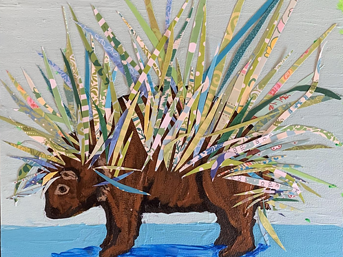 Blue and Green Porcupine Original Painting - Mixed Media - Acrylic and Paper