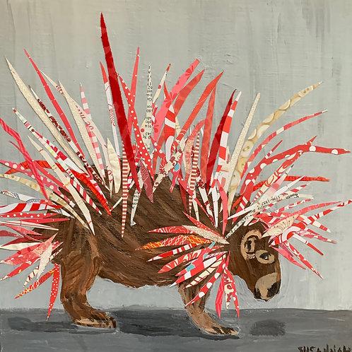Artist, Susannah Raine - Red & White Porcupine Original Collage Acrylic & Paper