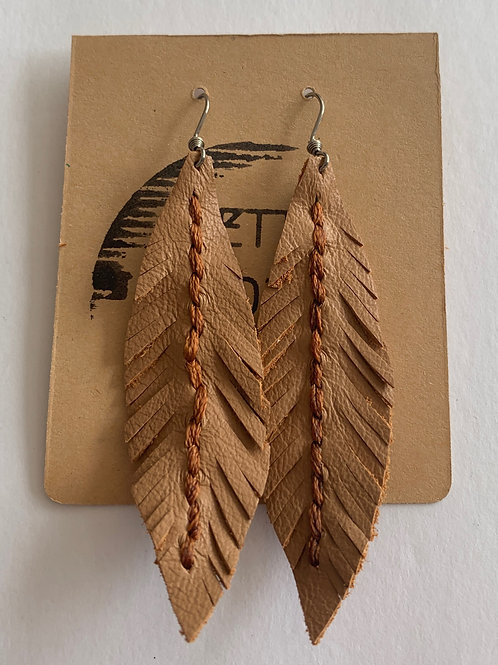 Famous Feather Leather Earrings