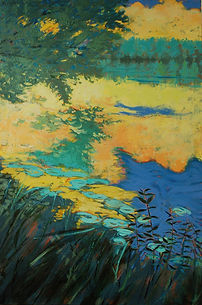 WatersEdgeWith Reflection 24x36 Acrylic Canvas Aaron Bowles