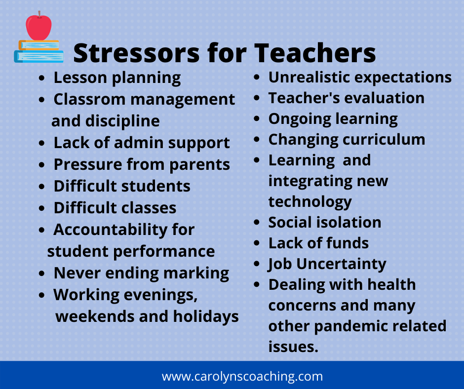 a list of stressors for teachers