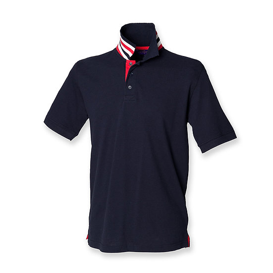 MEN'S HENBURY STRIPPED COLLAR POLO SHIRT