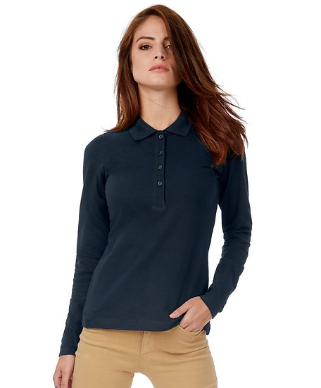 LADIES LONG SLEEVE POLO SAFRAN B&C