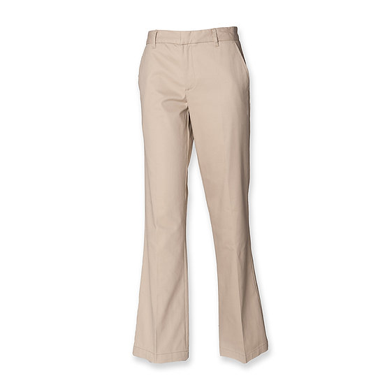 LADIES TEFLON COATED FLAT FRONTED HENBURY CHINO TROUSERS