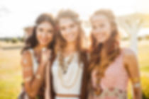 Three cute beautiful hippie girl in the