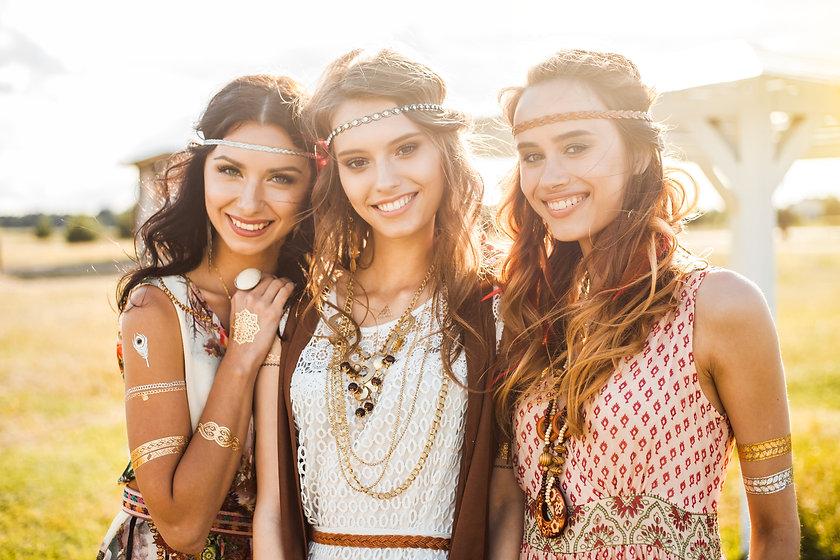 Three cute beautiful hippie girl in the