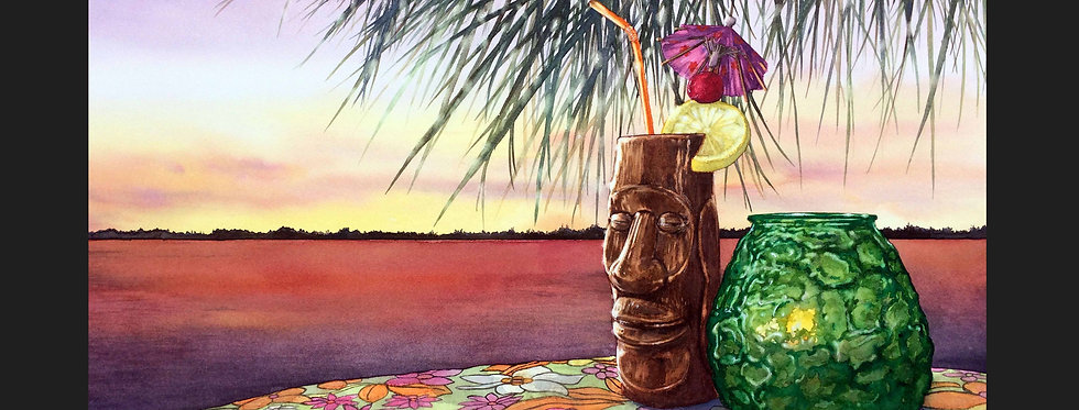 Mai Tai Sunset Matted Print