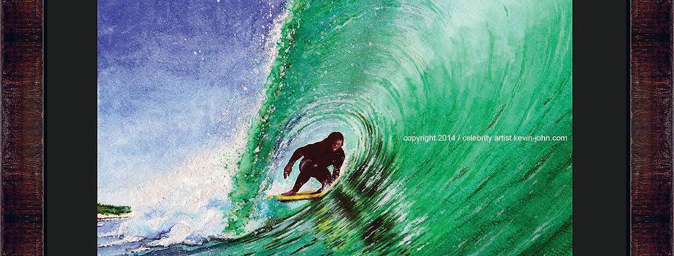 Green Pipe Surf Framed Giclee