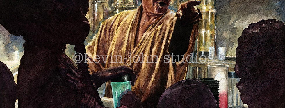 TOPPS STAR WARS WUHER CANTINA ORIGINAL PAINTING