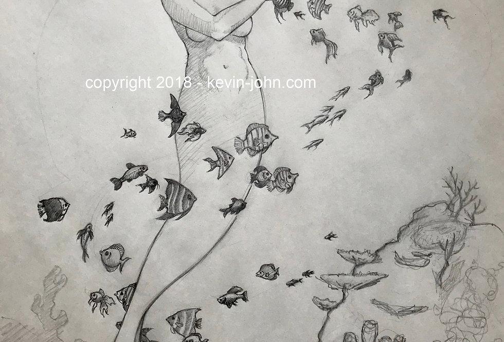 Mermaid with Fish Original Concept Sketch