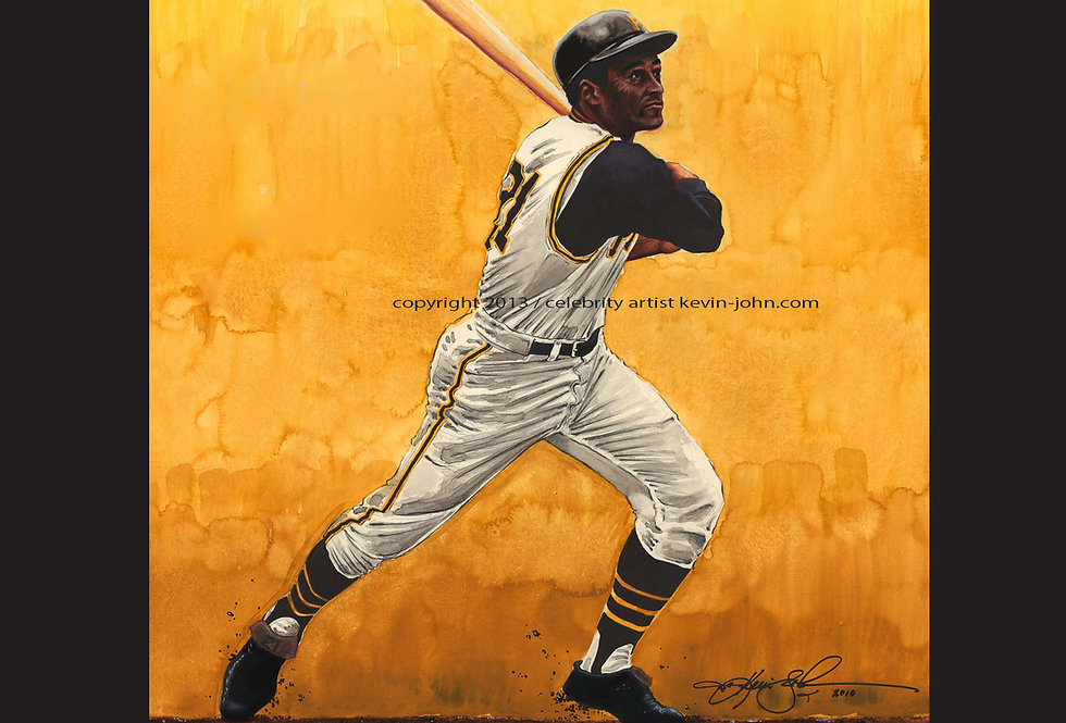 Roberto Clemente Matted Print