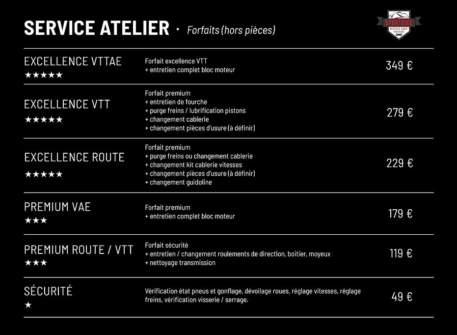 Service Atelier_Sport Bike_Forfaits