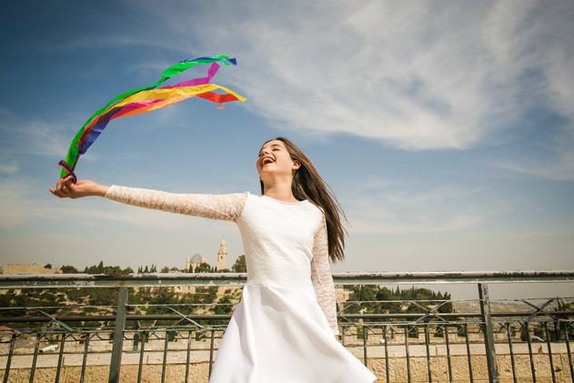 Bat Mitzvah Girl dances at Yemin Moshe