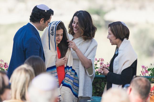 Bat Mitzvah parents bless daughter at Jerusalem Ceremony.