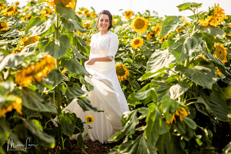 Bride in Israel Sunflower Field