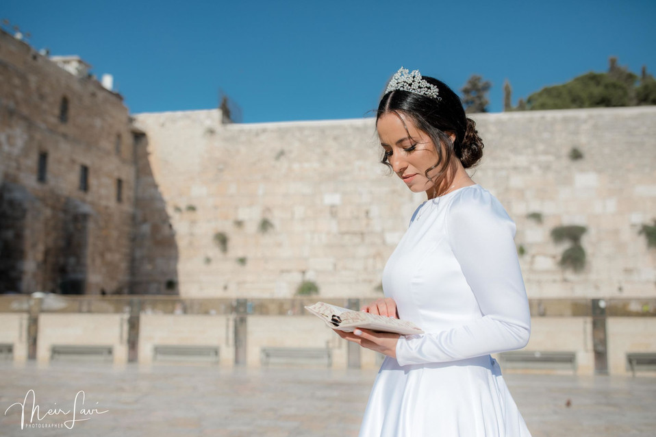 Bride with Prayer Book at Western Wall