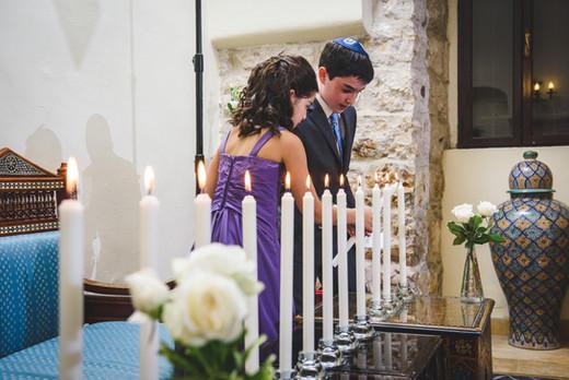Candle lighting at Bar Mitzvah in Jerusalem