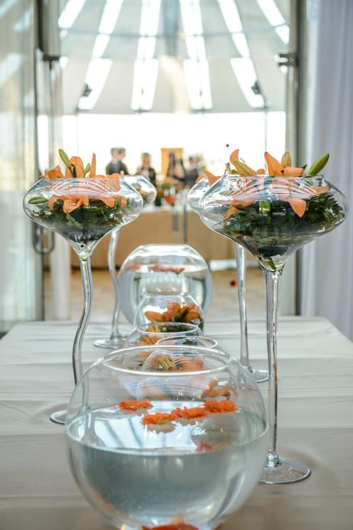 Gorgeous orange flowers with goldfish