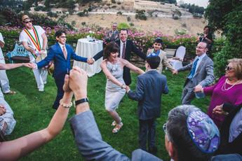 Family dances at Mt. Zion hotel in Jerusalem.