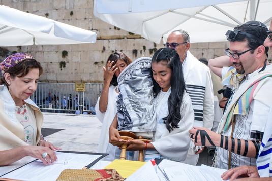 Bat Mitzvah girl at the Torah
