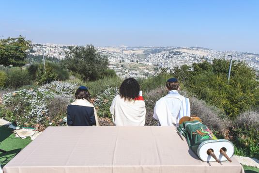 Bnai Mitzvah Ceremony at Olmaya at the Haas Promenade overlooking Jerusalem
