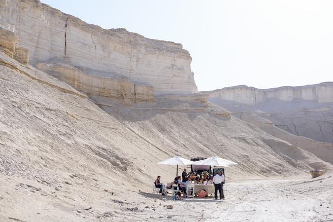 Scene of Bnot Mitzvah Celebration in Desert