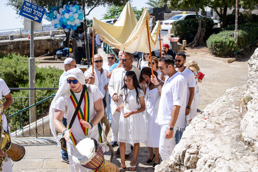 Drummer's Circle leading Bat Mitzvah Girl in Procession