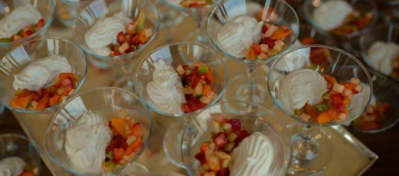 Fruit salad with mascarpone cream