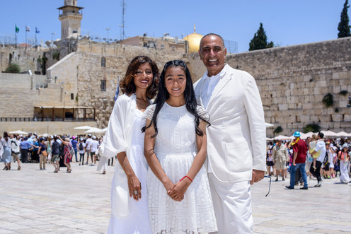 Bat Mitzvah family in front of the Kotel
