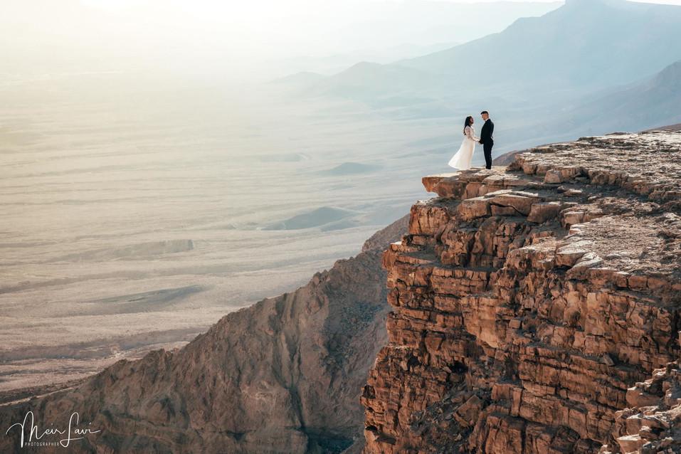 Bride & Groom on Israel Desert Cliff