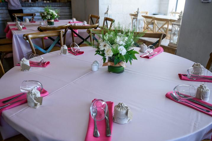 Beautiful Bat Mitzvah table settings at Terasa