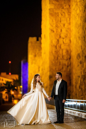 Bride & Groom Outside Old City Walls, Jerusalem