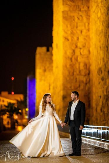 Bride & Groom Outside Old City Walls, Jerusalem
