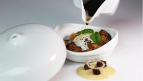 Hongos a la plancha con huevo a baja temperatura y royal de foie en dos tiempos, cocina vasca en est